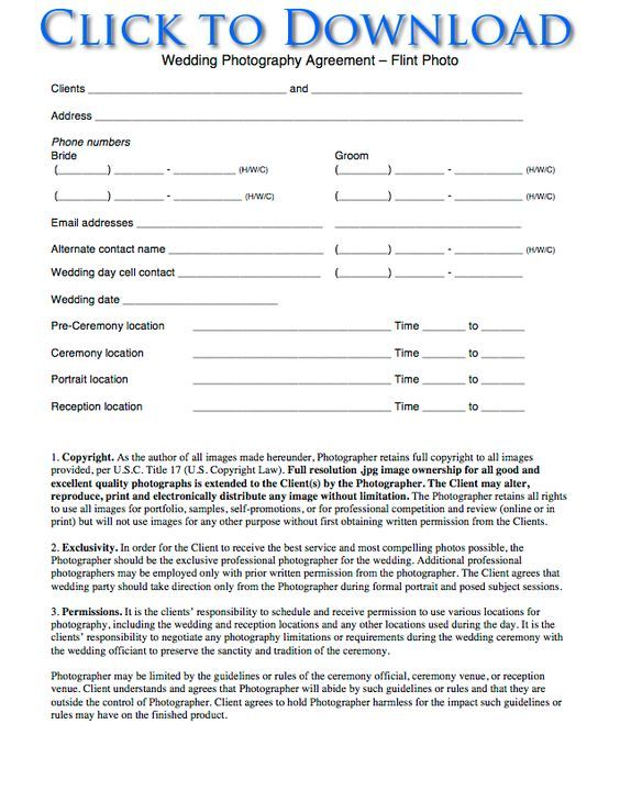 Free Printable Wedding Photography Contract Template Form Generic
