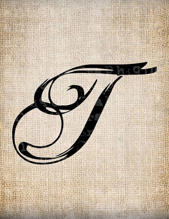 Antique Letter T Script Monogram Digital Download For Dictionary Pages Papercrafts Transfer Pillows Etc Burlap No