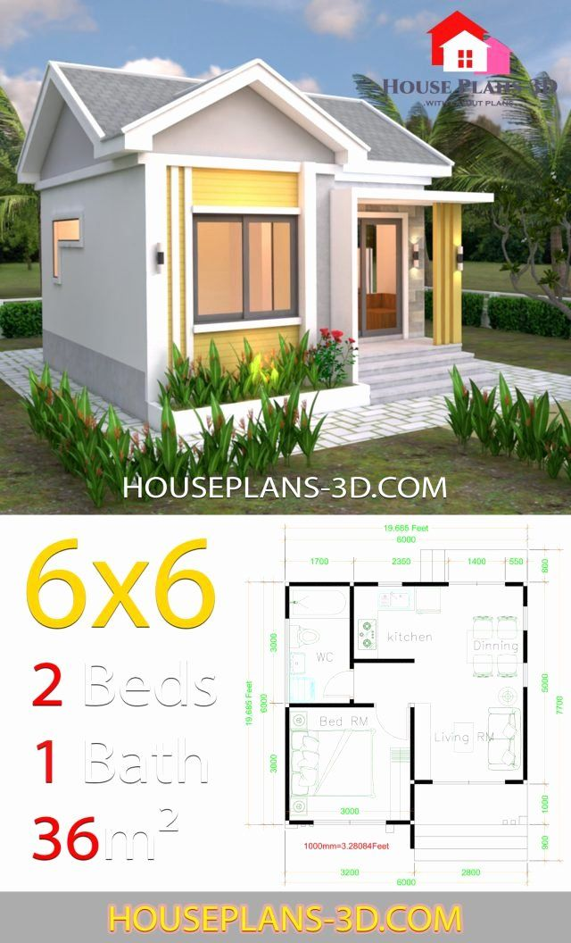 6 X 6 Bathroom Plans Luxury House Design Plans 6x6 With E Bedrooms Gable Roof In 2020 Small House Layout Gable Roof House Luxury House Designs