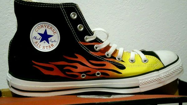 HOT ROD FLAME CONVERSE CHUCK TAYLORS (RARE) for Sale in