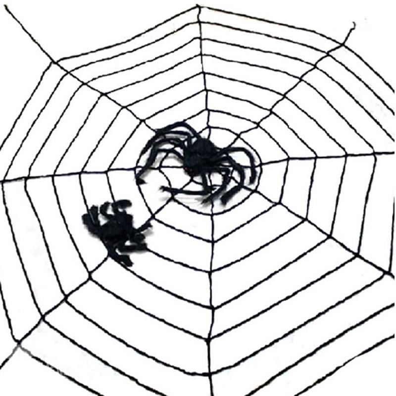 35m White Black Large Spider Web Rope with Giant Spider Halloween - giant spider halloween decoration
