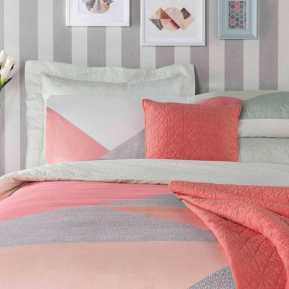 Elements colour block duvet cover and pillowcase set dunelm