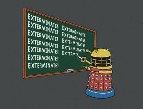 Dalek writing on a chalkboard.