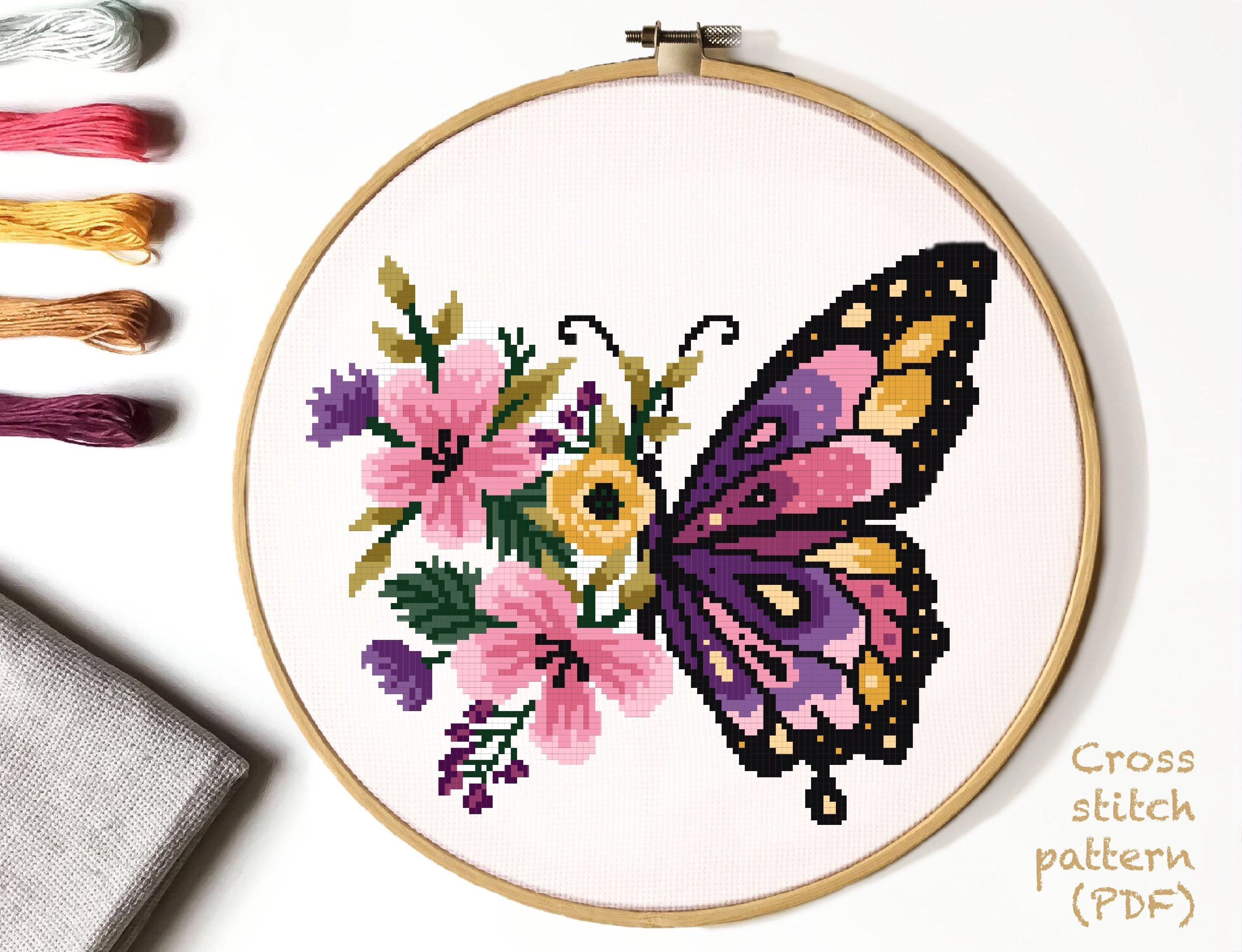 Floral Modern Cross Stitch Pattern flower butterfly counted cross stitch chart nature hoop embroidery Instant download PDF  Cross stitch embroidery