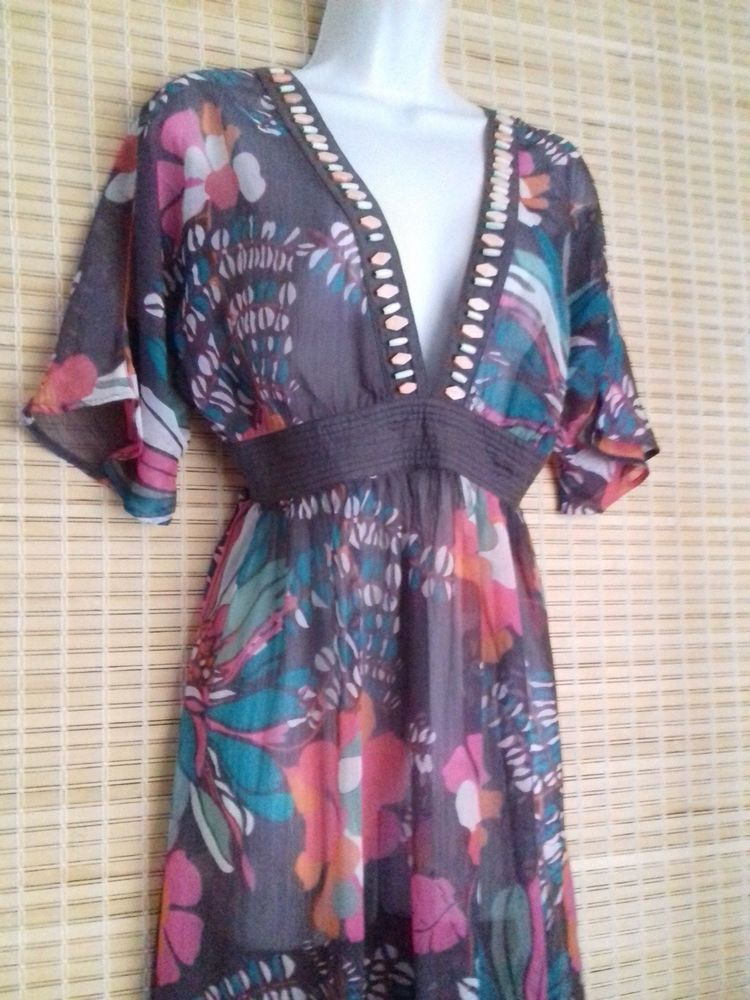 Accessorize Sheer floral cover-up Dress beach party holiday chiffon ...