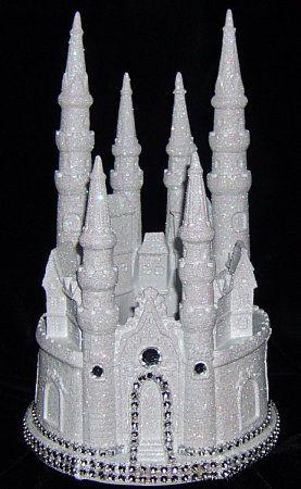 Lighted Diamond wedding Castle Cake Topper unlit