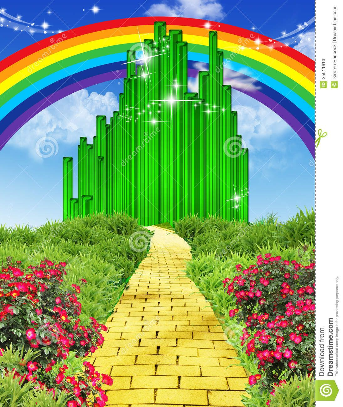 Rainbow Over The Yellow Brick Road Stock Photos
