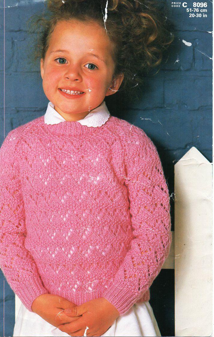 girls lacy sweater knitting pattern pdf childrens lace jumper round ...