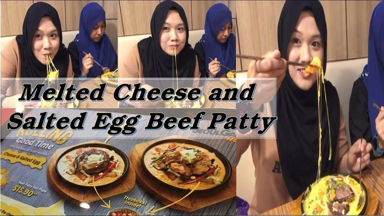 Halal Korean Food Singapore Seoul Garden Hotpot Melted Cheese And Salted Egg Beef Patty Watch Video Here Http Melted Cheese Singapore Food Korean Food