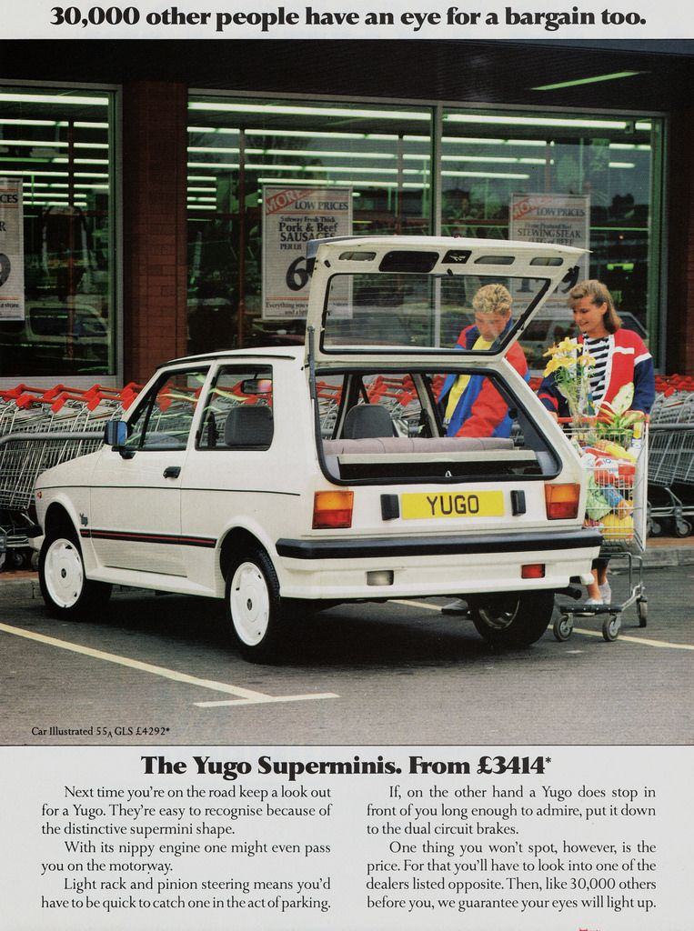 A U.K ad for the Legendarily horrible Yugo from 1987