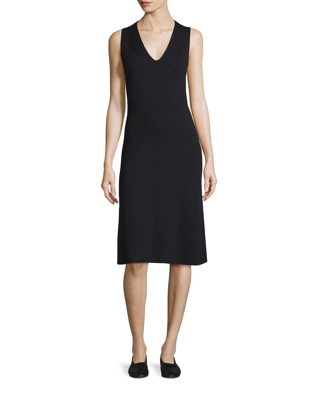 Sleeveless Fit-And-Flare Ribbed Dress, Coastal/Black - Vince
