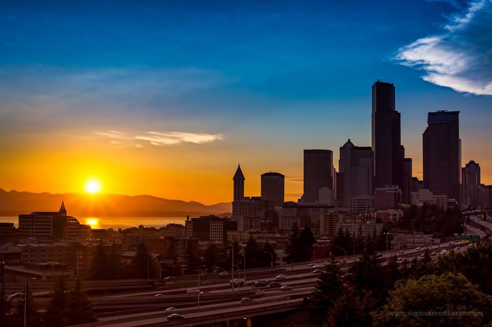 Seattle sunset - photo by Sigma Sreedharan Photography