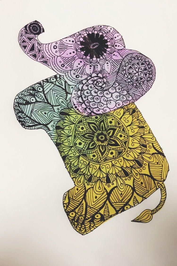 Mandala elephant drawing craft #diy #doodle #watercolor ...
