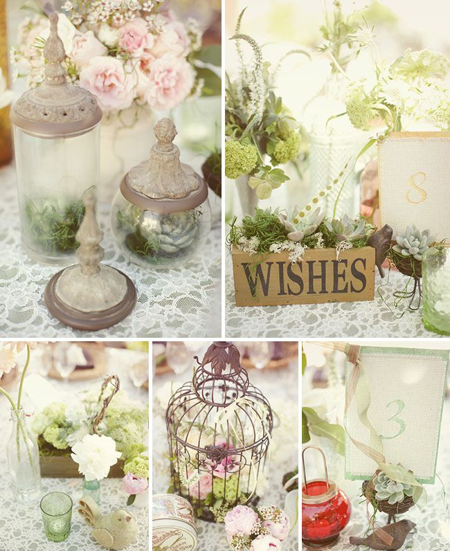 Stephanie brians vintage outdoor real wedding chic wedding vintage wedding centerpieces junglespirit Image collections