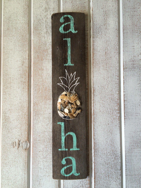 Personalised Wood Name Wall Door Plaque Sign Palm Tree Aloha Beach Sand Wedding