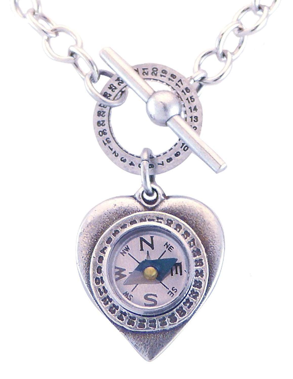 5fe162242526c Mullanium Jewelry Heart and Compass Pendant on Sterling Silver Link ...
