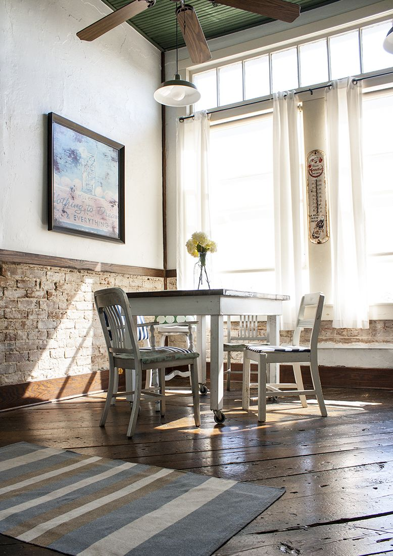 Chair rail kitchen - Love The High Windows And Exposed Brick Chair Rail And The Floors Love Everything