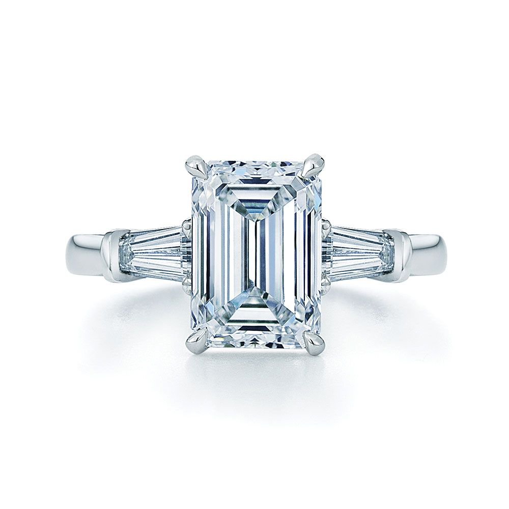 Emerald Cut Diamond and Platinum Ring with Two Tapered Baguettes Style No.  17600E