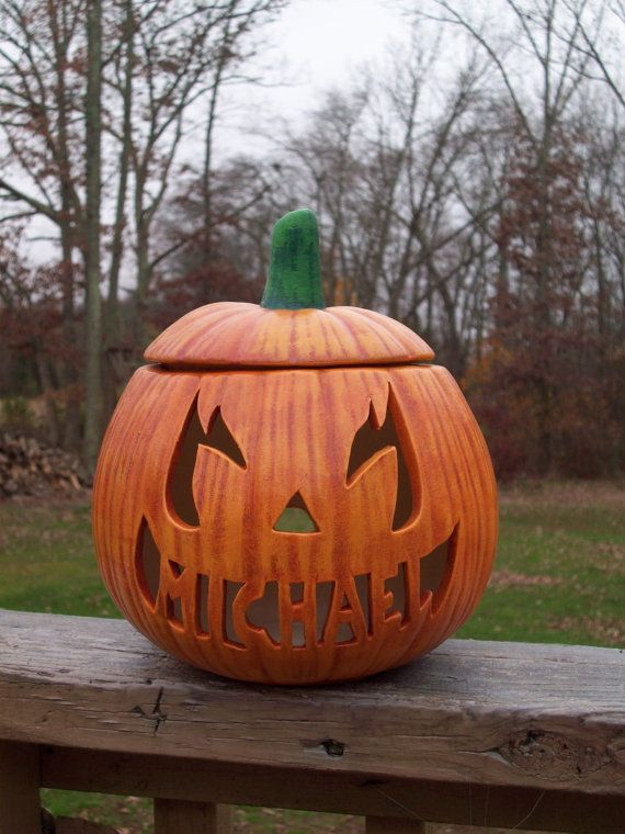 Personalized Ceramic Pumpkin Jack O Lantern Lamp By Ragdoll722 34 95 With Images Pumpkin Carving Pumpkin Carving Templates Pumpkin Jack