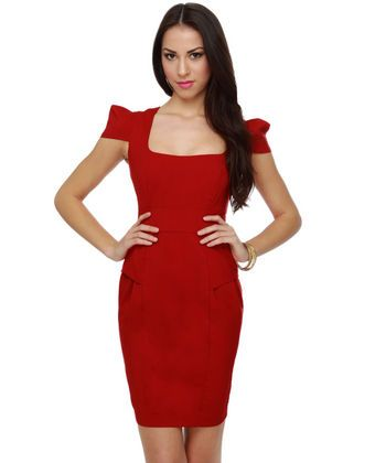 """""""Fab Forties Red Dress"""". $38.00! L!!! Nude pumps?"""