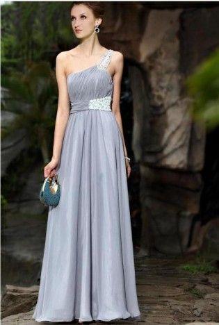 Silver Embellished Single Strap Evening Dress,  Dress, Prom Dress  Embellished  Floral  One Strap, Chic