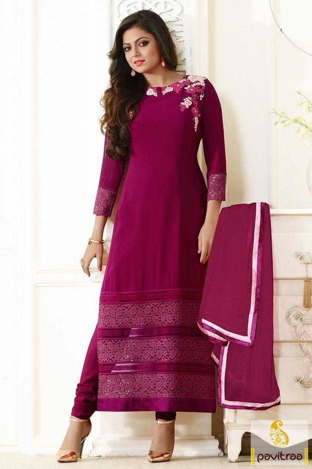 eadd204960 Richly beautifying magenta georgette madhubala long straight cut suit with  dupatta online shopping. Purchase Indian