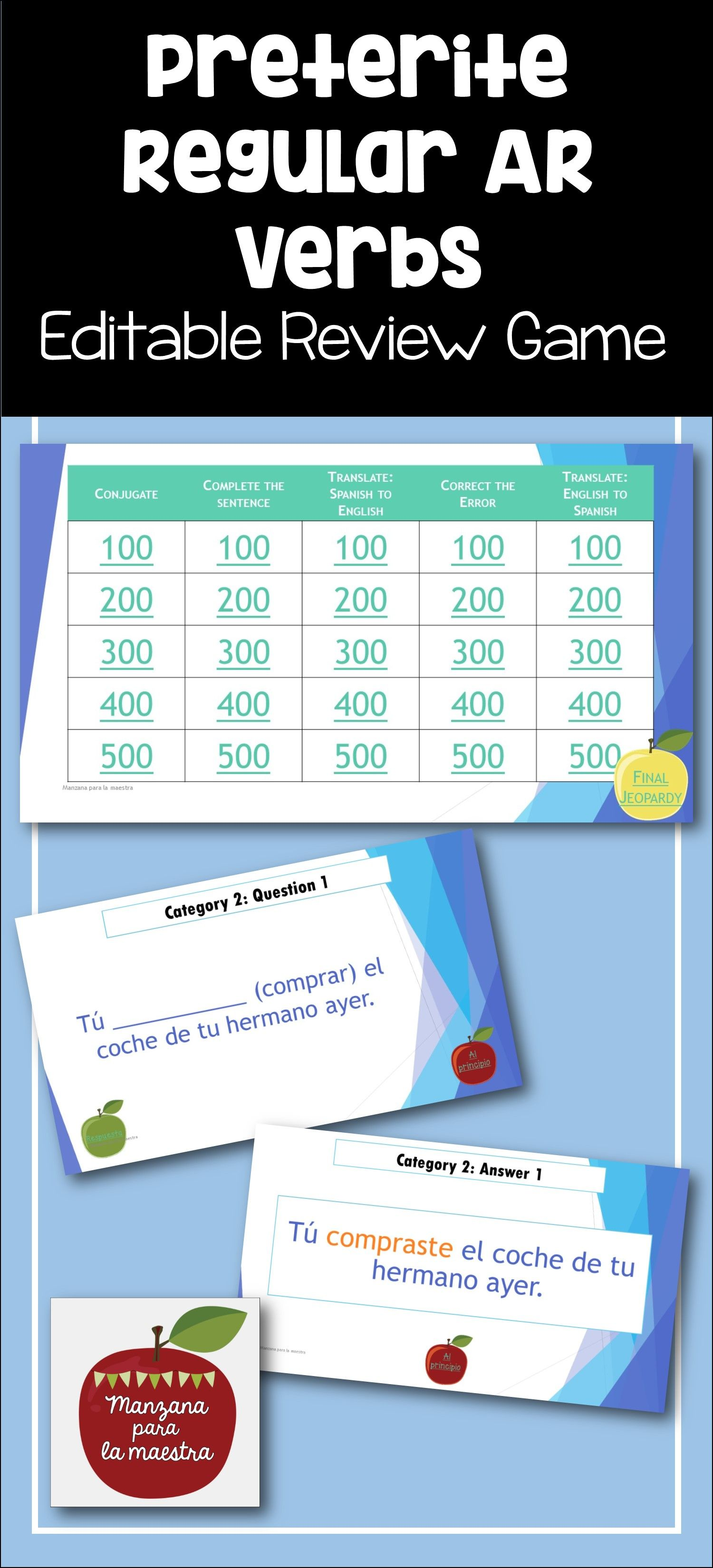 Enjoy This Editable Powerpoint Jeopardy Game To Review Regular Ar Verbs In The Preterite Tense With You Spanish Teaching Resources Preterite Preterite Spanish [ 3300 x 1500 Pixel ]