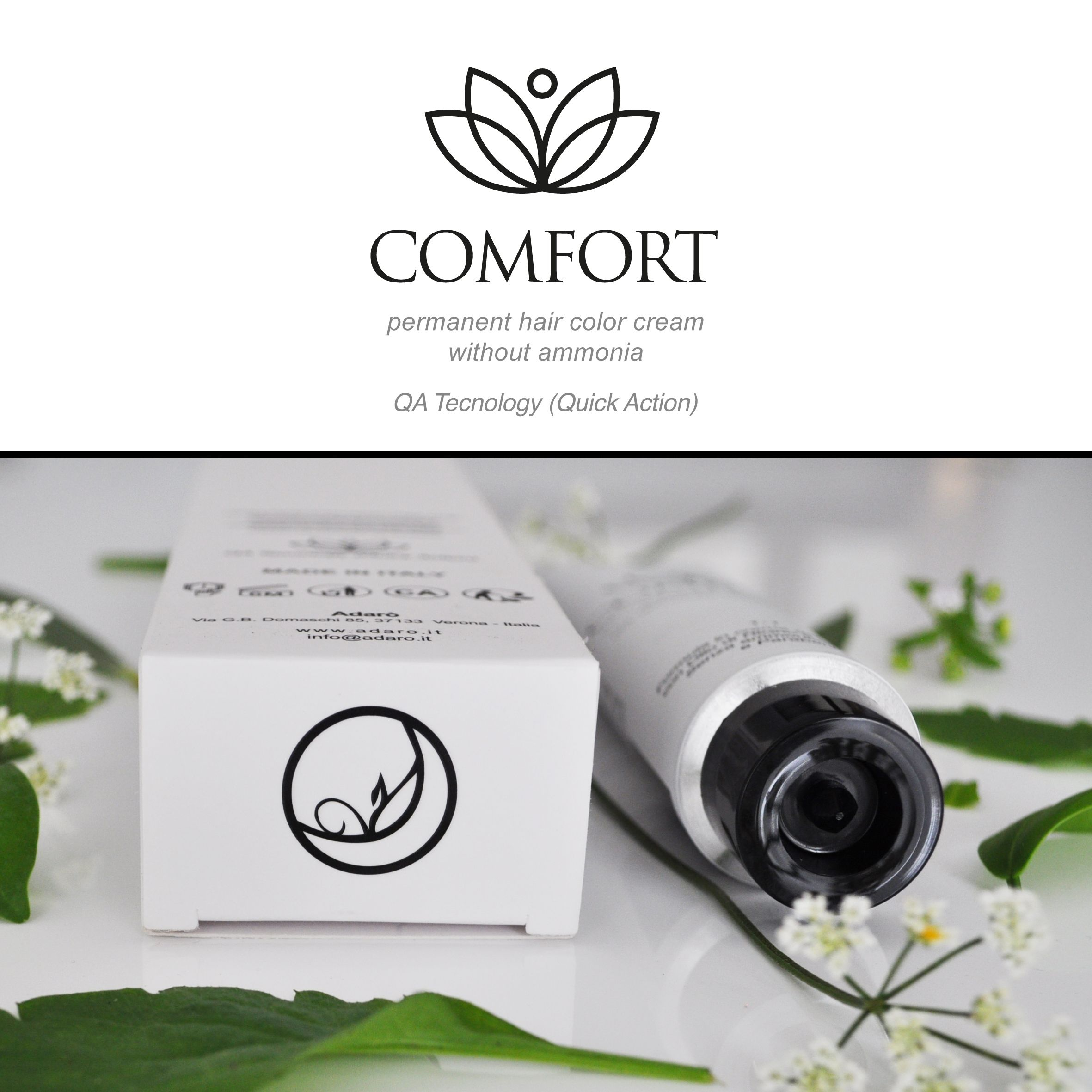 Comfort by Adarò - Ammonia Free hair Color - For unique people, for those who matter about softness, nature and harmony. From the raw material until the gorgeous natural result over your hair.