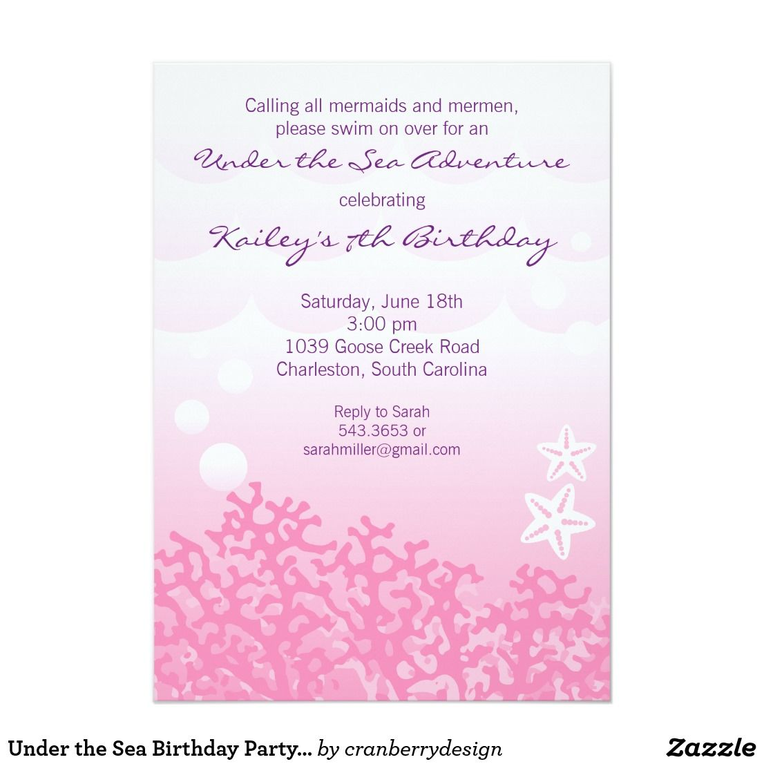 Under the sea birthday party invitation pink under the sea birthday party invitation pink this fun invitation features an elegant ombre stopboris Image collections