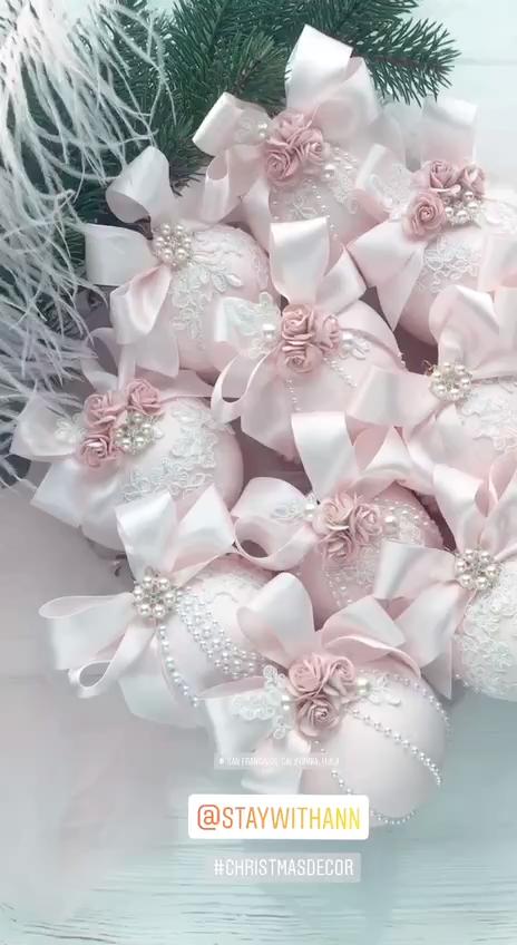 Photo of Christmas Ornaments Set of 6 Elegant Blush Pink Christmas Ornament Handmade Shabby Chic Tree Ideas