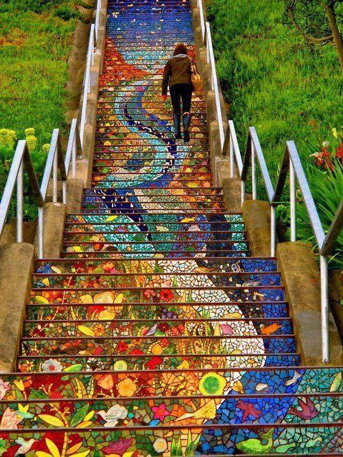 Staircase mosaic mural