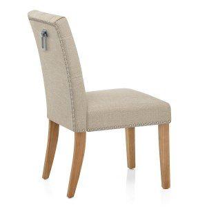 Barrington Oak Dining Chair Cream Fabric