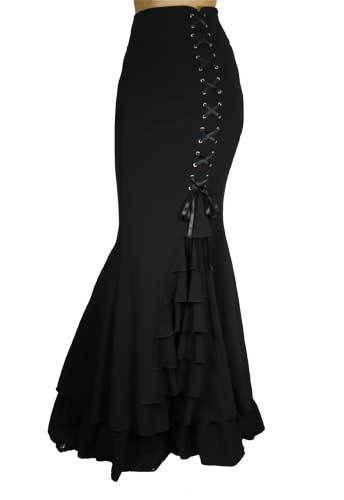 Morticia Mondays Gothic Mermaid Skirt - Frugal Diva Boutique