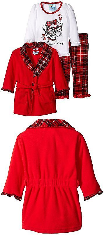 d36ad220ab65 Sleepwear 147215  Baby Bunz Baby Girls 3 Piece Pug Plaid Robe And ...