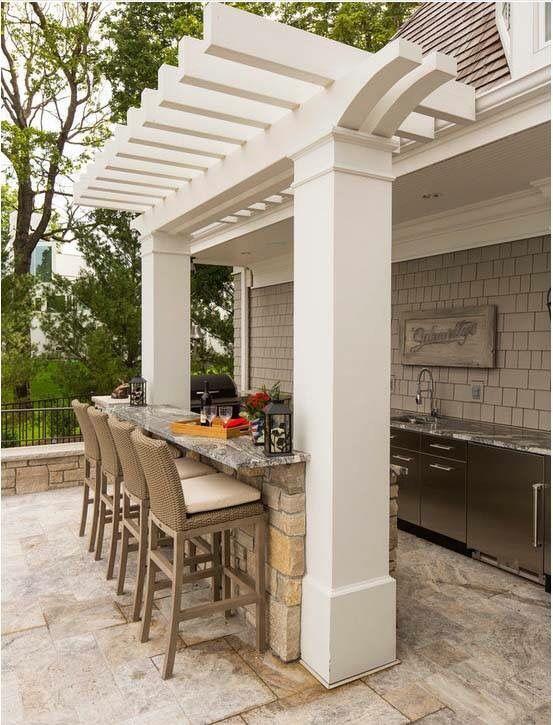 Outdoor Kitchen  Backyard  Pinterest  Kitchens Backyard And Patios Simple Outdoor Kitchen Bar Designs 2018