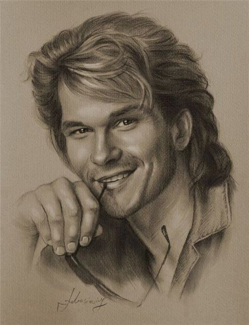 Pencil drawings celeb patrick swayze actor male celeb r i p gorgeous fantasy art