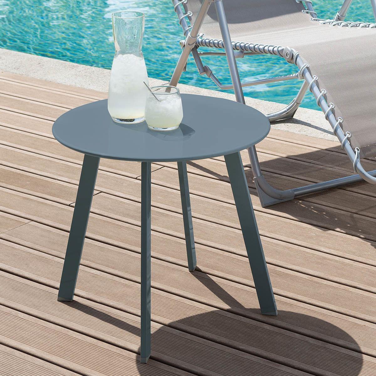Table D Appoint De Jardin Ronde Saona Bleu Canard Mat En 2020 Table D Appoint Petite Table De Jardin Table De Jardin Pliante