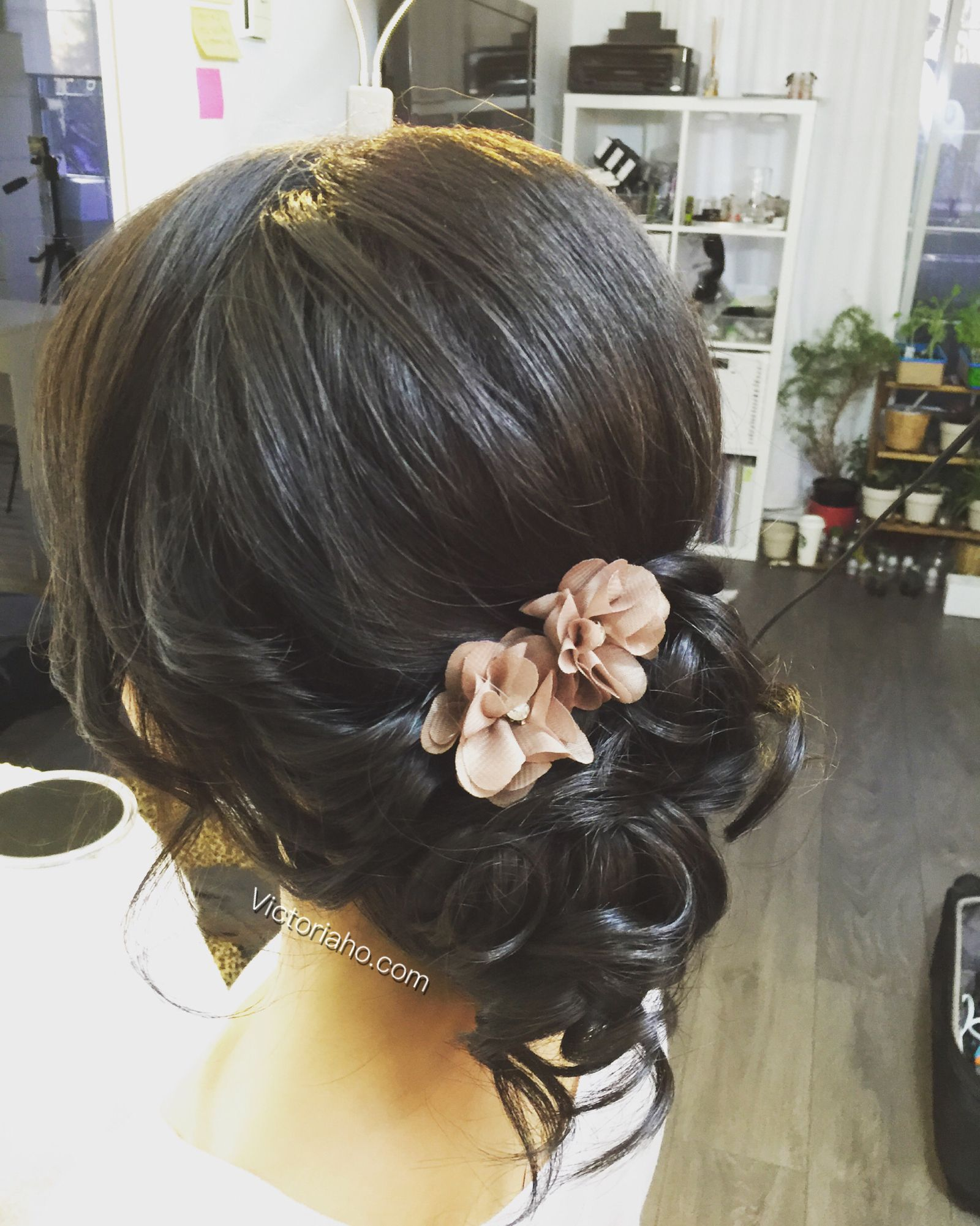 romantic updo side bun asian hairstyles | let's play dress