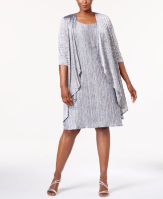 767197e6fffc6 R   M Richards  plus-size special occasion dress gives the look of elegant  separates with an attached draped jacket and optional necklace.