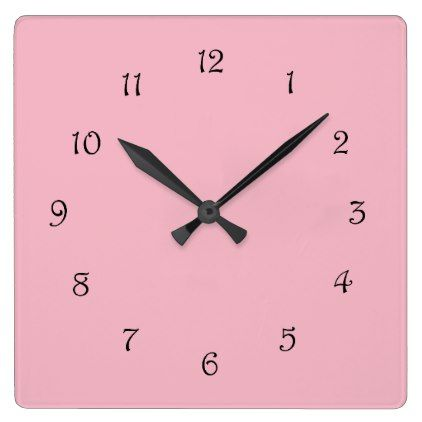 Black Script Numbers On Pink Wall Clock - script gifts template - clock templates