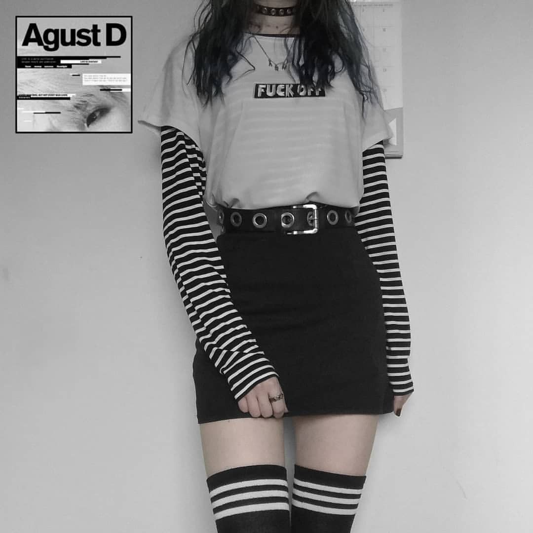 Egirl Tumblr Grunge Fashion Grungefashion Emofashion Bts Agust D Yoongioutfit Airoport Agustd Agu In 2020 Fashion Outfits Edgy Outfits Kpop Fashion Outfits