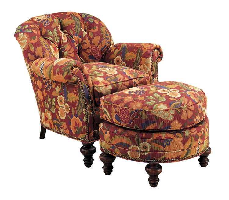 Amazing Upolstered Chair And Ottoman Button Back Autumn Tapestry Machost Co Dining Chair Design Ideas Machostcouk
