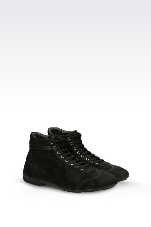 50461d10102 Emporio Armani Men Ankle Boots - HIGH TOP SNEAKER IN NUBUCK Emporio Armani  Official Online Store