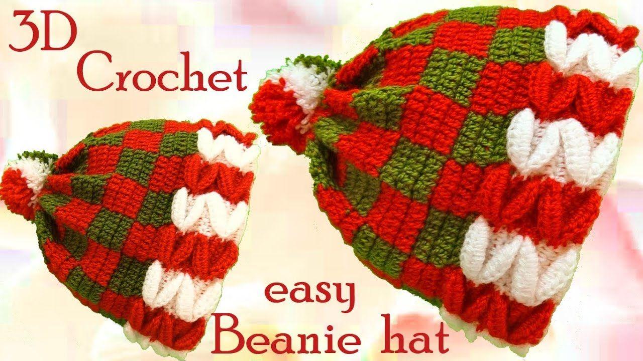 Gorro a Crochet en punto 3D dulces de Navidad tejido ...