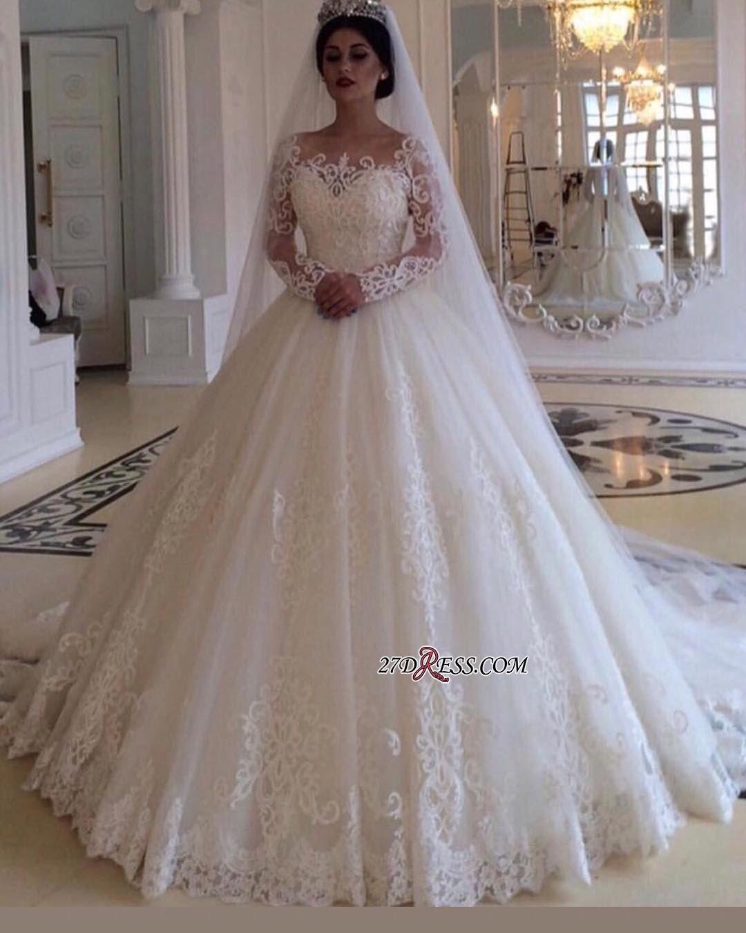 Glamorous Bateau Long Sleeves Wedding Dress Lace Princess Bridal Gowns Onlin Long Sleeve Wedding Dress Lace Wedding Dress Long Sleeve Ball Gown Wedding Dress [ jpg ]