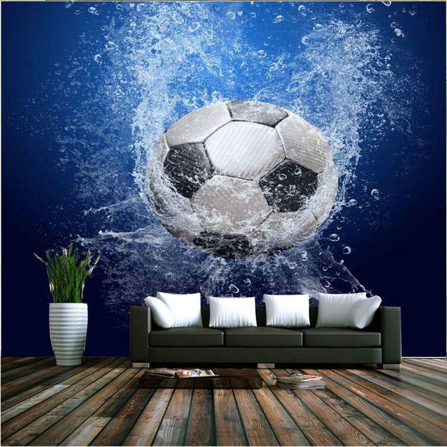 Aliexpress Com Buy Modern 3d Wallpaper Football Photo Wallpaper Wall Mural Boys Kids Girls Room Decor Club Be Wall Wallpaper Boy Girl Room Football Wallpaper