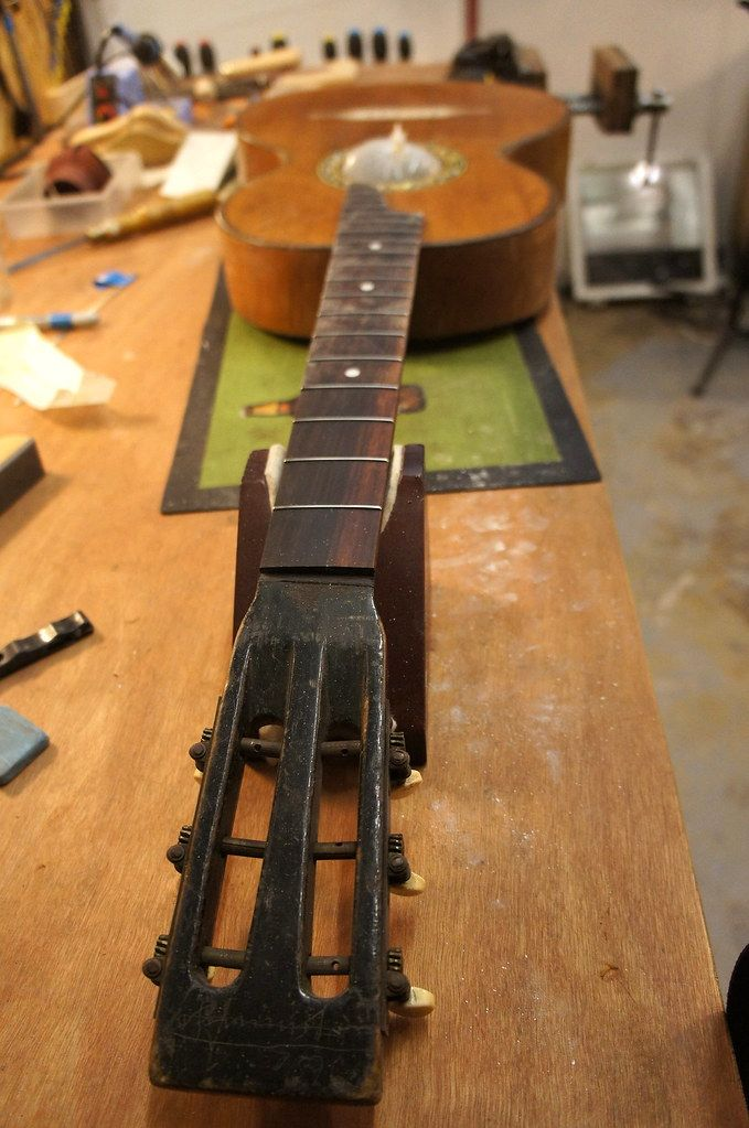 Here's the gorgeous slotted headstock and the refret all