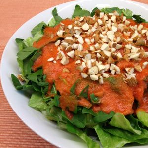 Salad with pineapple and red sweet pepper dressing