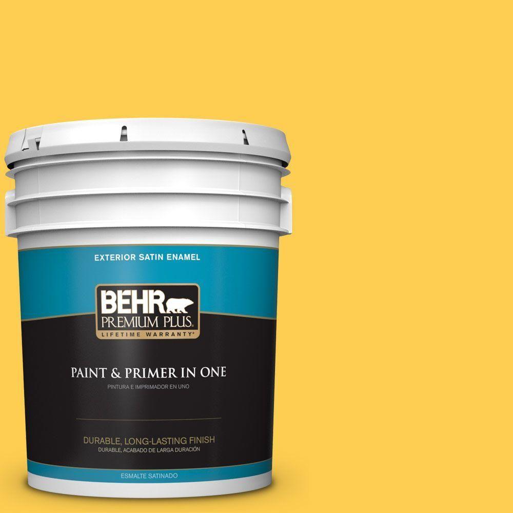 BEHR Premium Plus 5 gal. #T16-05 Canary Diamond Satin Enamel Exterior Paint