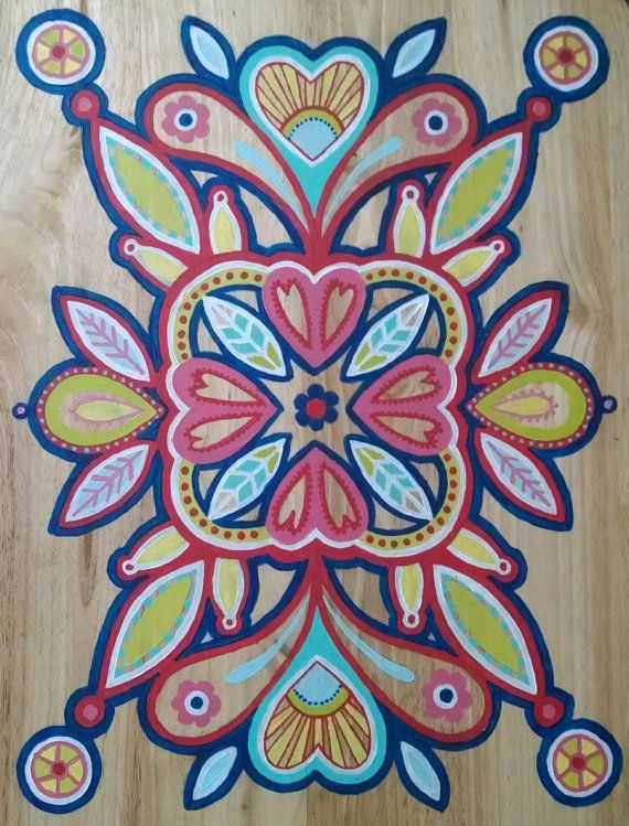 Hand-painted folding table in modern pop colors: an ode to Swedish kurbits design and folksy Gypsy patterns. This one-of-a-kind design has all